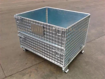 Space Saving Warehouse Equipments Wire Container Storage Cages With Blue Plastic Board